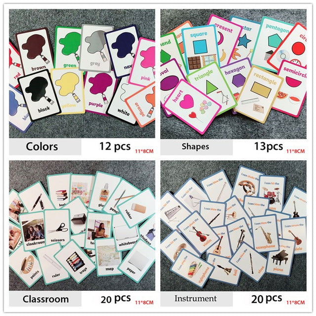 Montessori English Word Card Game Puzzle Card Baby Learning English Word Educational Toys Kids Learn English Word for Children