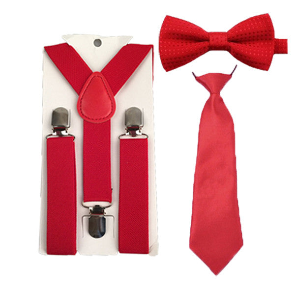 Red Boy's Unisex Suspenders+Bowtie Ties Set