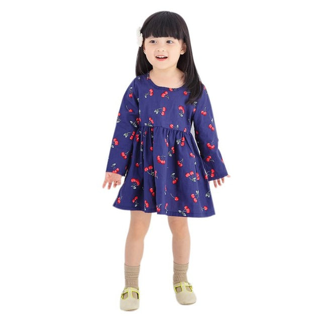 Autumn Baby Girl Dress Cotton Infant Floral Print European Style Vintage Long Sleeve Toddler Dresses