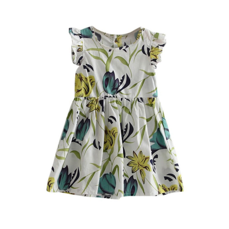 Summer Style Baby Girls Dress O-neck Floral Printed Dresses