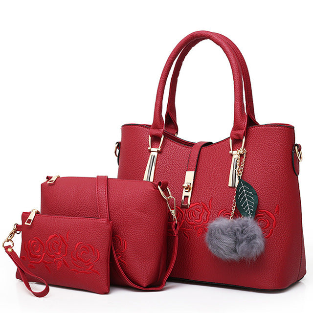 3 Piece: Luxurious Rose Leather Messenger Bag Set - Was: $136.99 Now: $46.99 - Free Shipping.