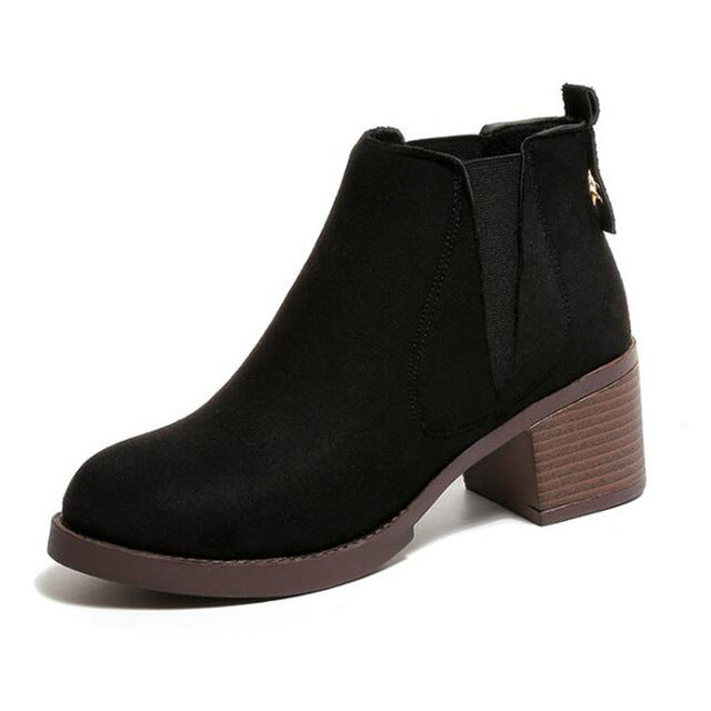 COVOYYAR Fashion British Women's Ankle Boots Autumn Winter Solid Thick Heel Martin Boots Women Shoes
