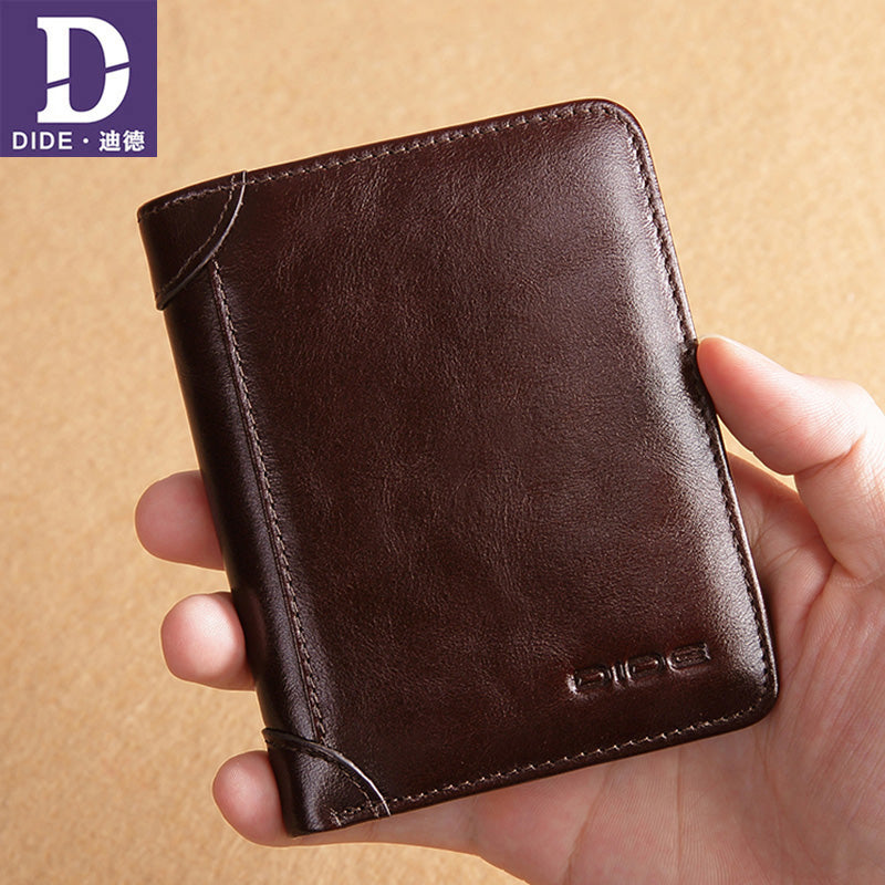 DIDE Luxury Brand Men Wallet 100% Genuine Leather Man Short Wallet Male Wallet Vintage Purse Standard Card Holders Wallets
