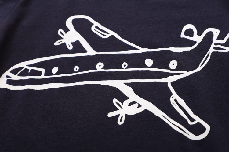 Toddlers Cartoon Airplane Short Sleeve 100% Cotton O-neck T-shirt
