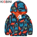 KISBINI Dinosaur Children's Windbreaker Autumn Casual Hooded Boys Jackets and Coats Kids Sports Active Outerwear Clothes
