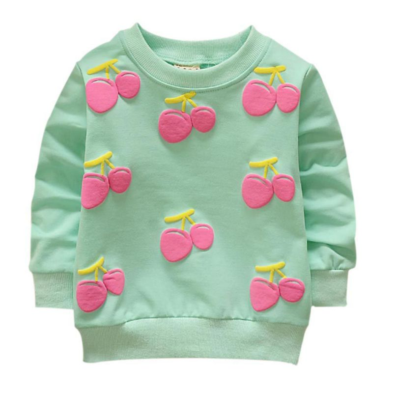 Baby Girls Sweatshirts Winter Spring Autumn sweater Cherry Pattern long sleeve T-shirt  kids Fashion clothes