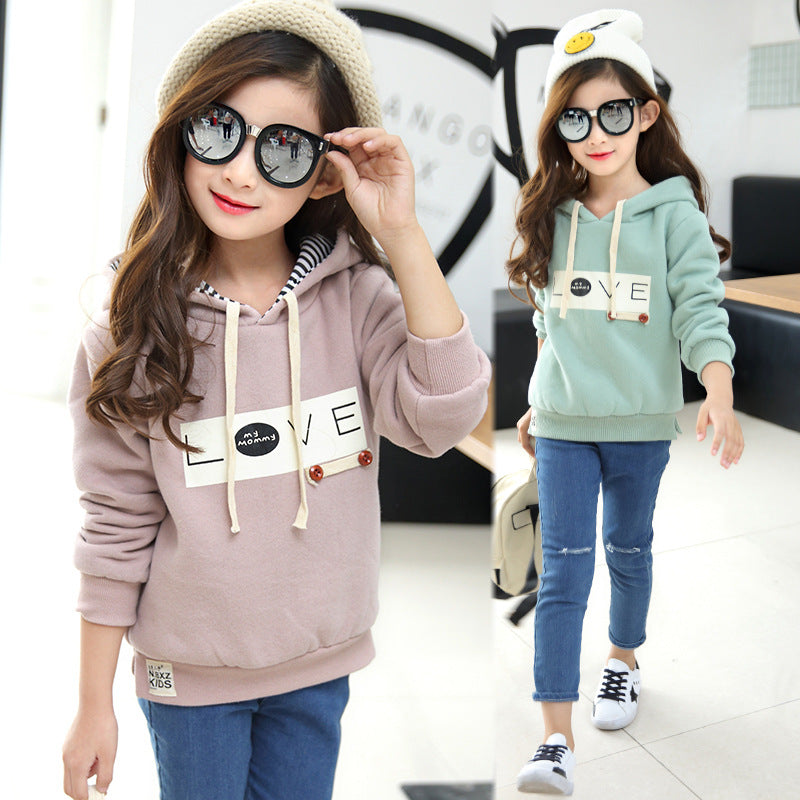 Hoodies girls kids autumn winter spring casual hooded thick long sleeved sweater baby children clothes 8-13 years kids