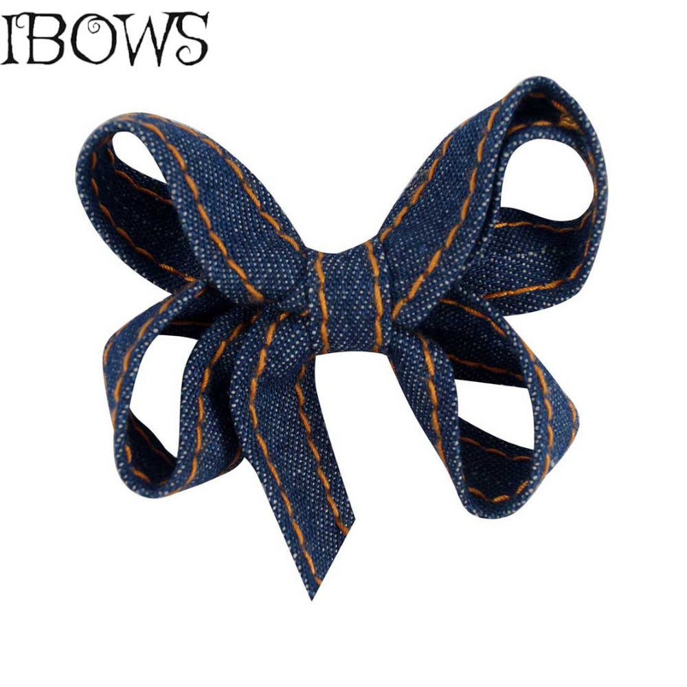 Girl's Fashion Blue Denim Hair Bow Headband with Clip