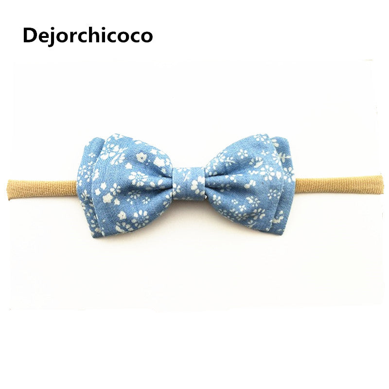 Dejorchicoco Denim Bow Nylon Headbands Children Girls Jeans Floral Prints Elastic Nylon Head Bands Kids Hair Accessories