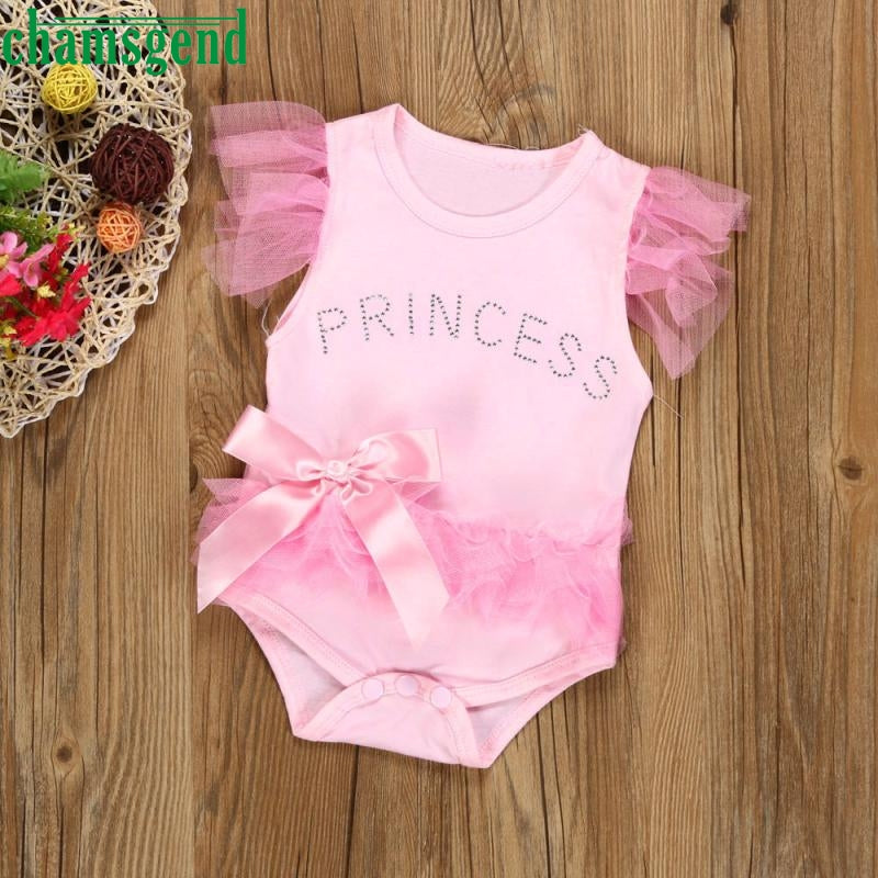 CHAMSGEND Girls cute conjoined jeans climbing pink summer short-sleeved bow lace princess children's clothing baby clothesP30