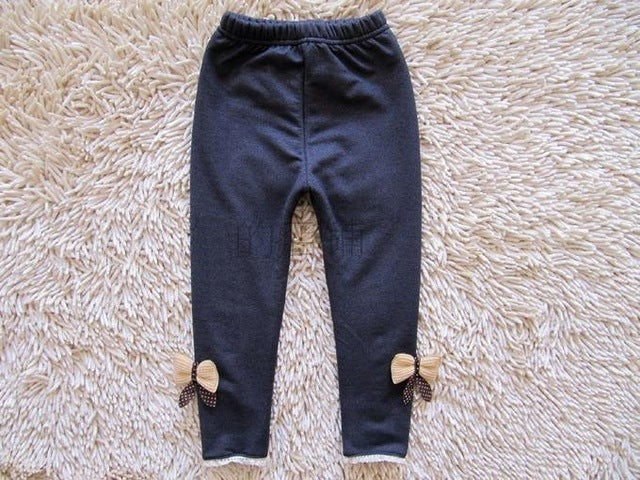 Girls Bow Cotton Elastic Waist Legging