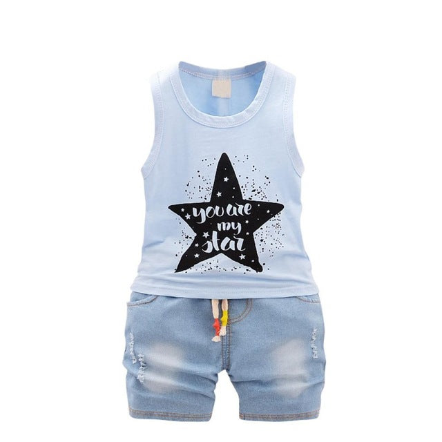 Summer Kids Baby Clothes Set  Sleeveless Vest Tops Shorts Jeans 2 Pcs Baby Sets Boys Girls Clothing Blue White