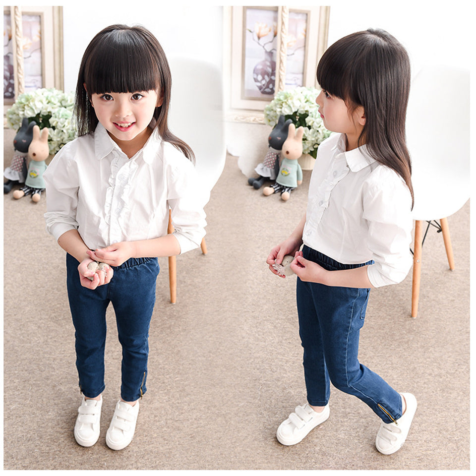 Girl Jeans New Deep Blue Color Children Jeans for Girls Fashion Skinny Spring Summer 2 3 4 5 6 7 8 Years Kids Trouser
