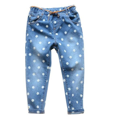 Fashion Cartoon For Girls Cotton Knitted Denim Jeans