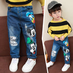 boys and girls jeans children thickening plus velvet pants baby cartoon children's clothing autumn and winter casual jeans