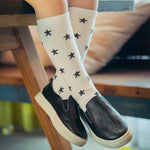 Cute Star Print Winter Autumn Calf Length Tube Crew Socks For Child Or Toddler W15