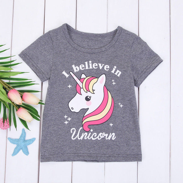 Brand New Infant Toddler Child Kid Baby Girls Unicorn T-shirts Tops Cotton Tees Shirts Cute Top Casual Cartoon Clothes 1-6T