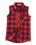 Fashion Baby Kids Boys Girls Sleeveless Shirt Plaids Checks Tops Blouses & Shirts  Clothes Outfits