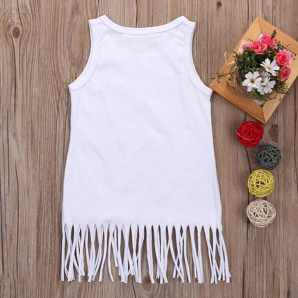 Fashion Baby Girl Clothes Summer Tassel Blouse Kids Girl Sleeveless White Blouse with Letter Printed Kids Cute Girl Clothes