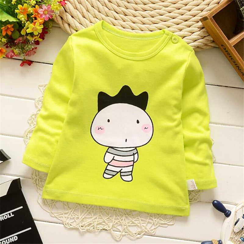 DapChild Boys Girls Tops Cartoon Printed Spring Long Sleeve Pullover Sweatshirt Cotton Baby Cute Outfit Kids Blouse Age 1-5 Year