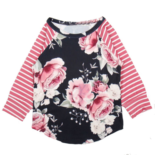 Helen115 Kids baby girl clothes Cotton Long Sleeve Floral Striped Printed Loose Shirts 1-5Years