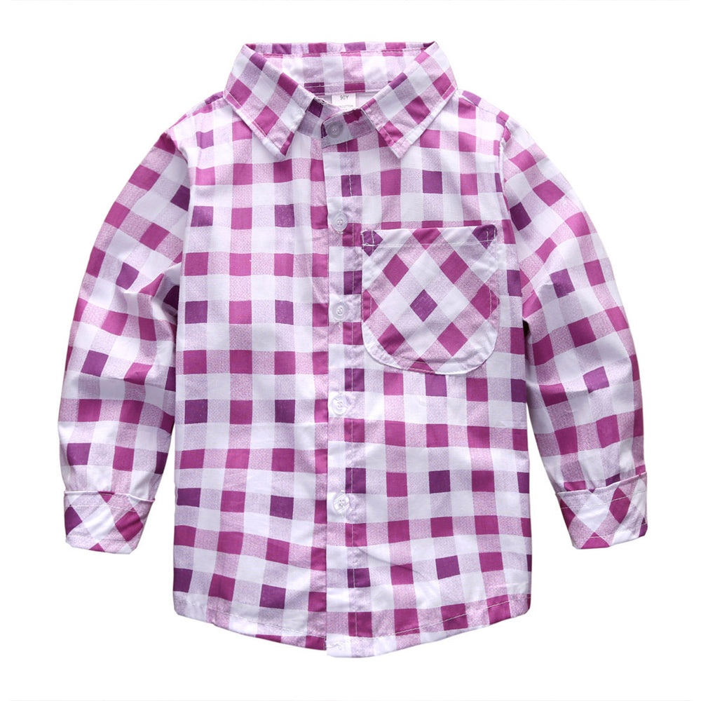 Casual Baby Girls Kids Cotton Shirt Tops Long Sleeve Turn-down Collar Plaid Shirts Blouse 2-7