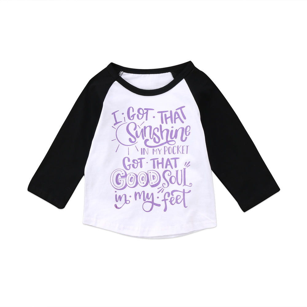 Pudcoco 1-6Y Kids Baby Boys Girls Child Long Sleeve Pullover Letters O-Neck Blouse Casual Cotton Top