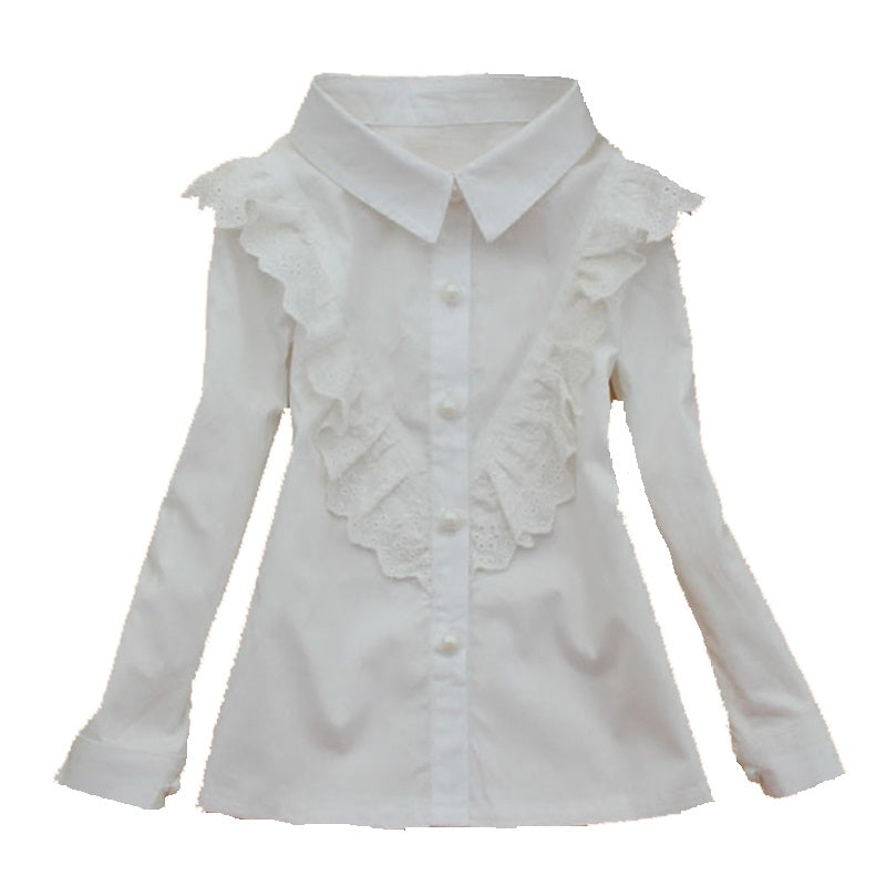 Teenagers White Shirts For Girls Clothing Children School Clothes Long Sleeve Turn-Down Collar Blouses Girls Tops 2 4 8 10 12 14