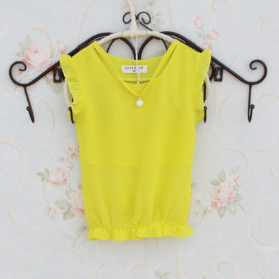 Girls Blouses Sleeveless Chiffon Shirts For Girls School Uniforms Summer Children Tops Students Clothes 2 4 6 8 9 10 12 14 Years