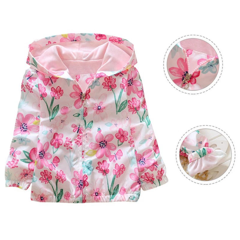 Children Autumn Jacket Girls Flowers Printed Hooded Outwear 2-7Y
