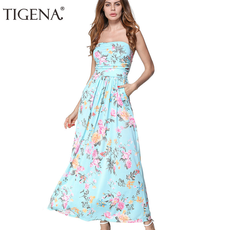 TIGENA Women Summer Dress Strapless Off Shoulder Long Maxi Dress Sundress Women Summer Tunic Boho Beach Dress Robe Femme