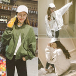 Spring Autumn Coat Women Basic Jacket Short Jackets Loose Outerwear Female Coats Army Green White Color