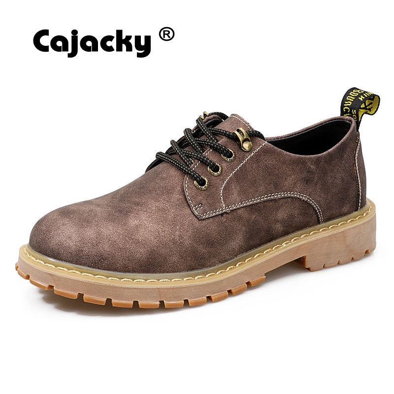 Cajacky fashion working shoes men winter autumn martin boots classic genuine leather safety shoes brown gray ankle boots big toe