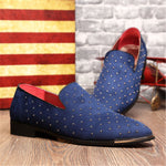 England style Pointe toe rivet shoes Large size Slip On Flats Summer Men Loafers Casual shoes Black Blue 01B