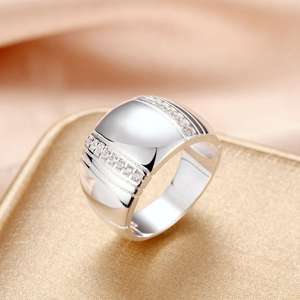 Jemmin 925 Sterling Silver Woman/ Man Lover's Ring CZ Crystal Wedding Engagement Fashion Finger Rings Jewelry