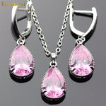 Lan High Quality Choker Silver-Planted Jewelry Sets  AAA Zircon Pink Necklace&Pendant Earring For Wedding