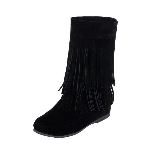 KMUYSL Autumn And Winter Women Tassel Boots Med Heel Shoes Keep Warm Ankle Snow Boots Slip On Height Increasing Shoes