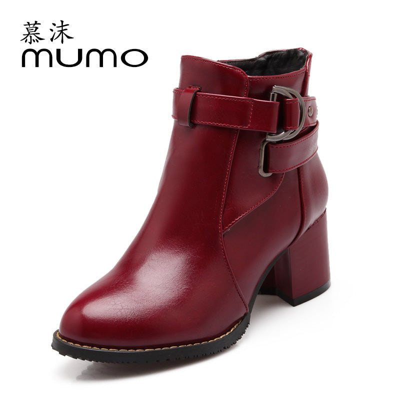 Women's High Heeled Shoes Soft PU Leather Round toe Square Heel Platform Autumn Winter Women Shoes Ankle Boots women boots 038