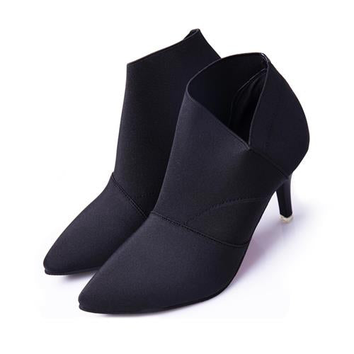 STAINLIZARD Pointed Toe High Heels Shoes Women Ankle Autumn Winter Boot Women Thin Heel Shoes Solid Female Shoes Footwear HDT609