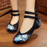Bright Peacock Embroidery Women Shoes Old Peking Mary Jane Flat Heel Denim Flats with Soft Sole Women Dance Casual Shoes