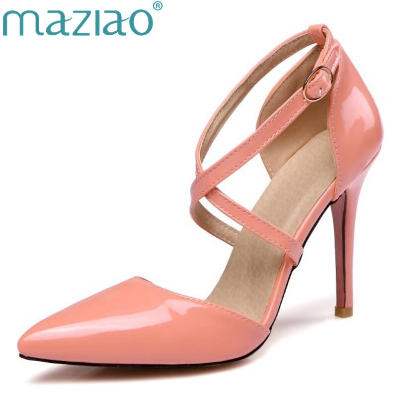 MAZIAO   Point Toe Patent High Heels Pumps Shoes Newest Woman's Red Sandals Heels Shoes Wedding Shoes 10cm candy color