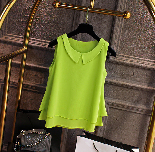 Fashion Brand Female Chiffon Shirts Women Summer Casual Top Plus Size S-4XL Loose Sleeveless Thin And Light Chiffon Blouse