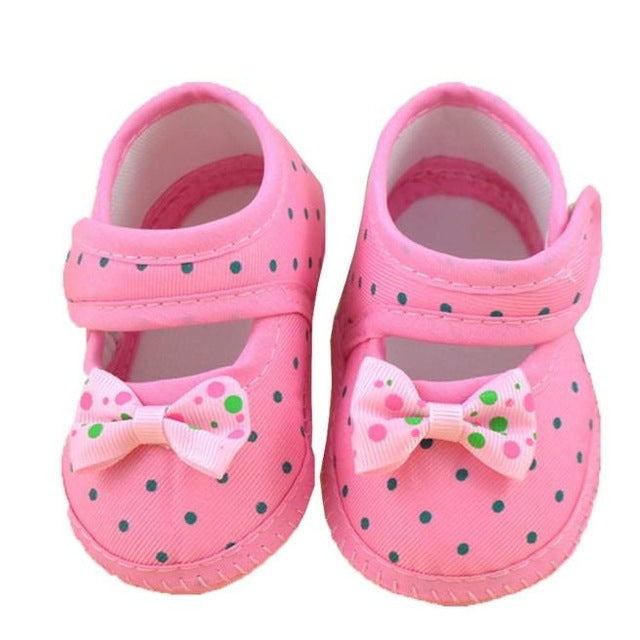 Kids Fashion Girls Shoes Dot Blue And Pink Baby Bowknot Boots Soft Crib Shoes New Trendy Casual toddler girl Spring Shoes