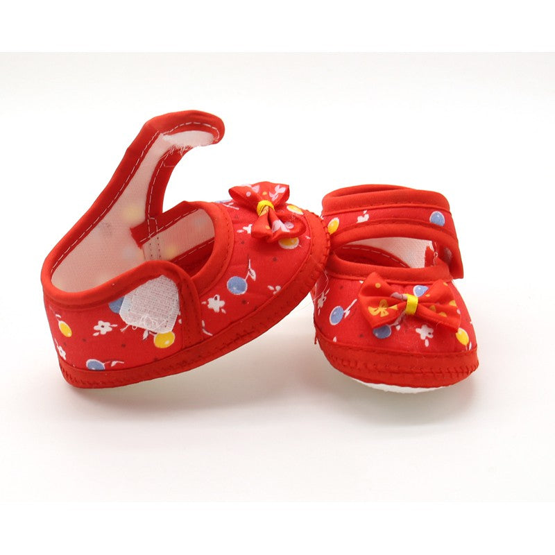 Summer Baby Girl Cloth Soft Sole Shoes First Walkers Round Dot Prewalker Mary Jane Shoes With Bowknot Shoes