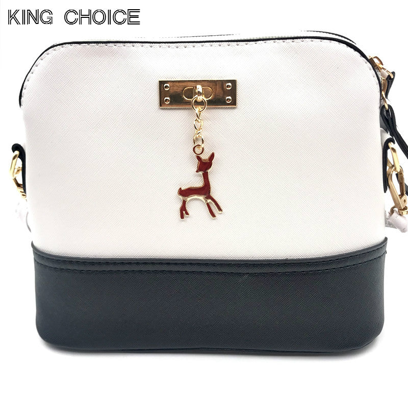Women's Handbags Leather Fashion Small Shell Bag With Deer Toy Women Shoulder Bag Casual Crossbody Bag