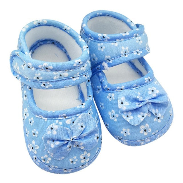 Sweet Baby Girls Princess Bowknots Flower Crib Shoes Prewalkers Casual Shoes