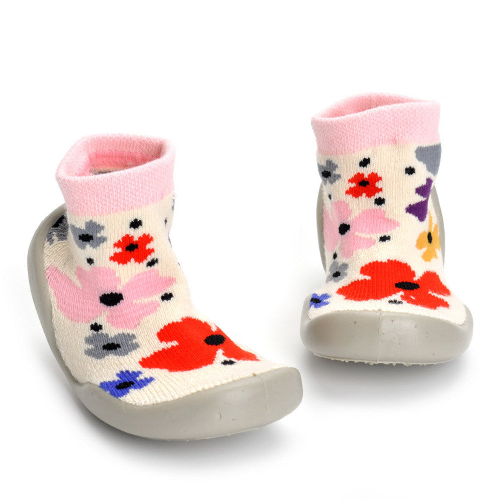 Baby shoes Toddler Girl Boy Flower Soft Socks Shoes Floor Shoes Indoor Shoes Sneakers Rubber Anti-slip Winter daily comfortable