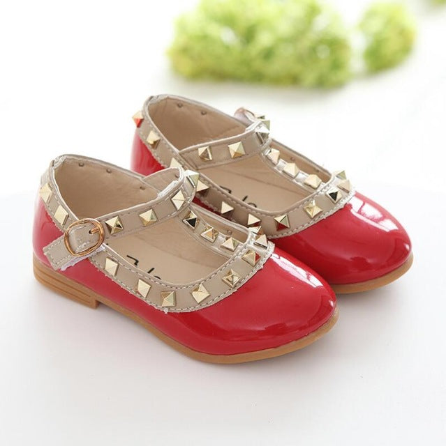 Girls Sandals Kids Leather Shoes Children Rivets Leisure Sneakers Girls Princess Dance Shoes