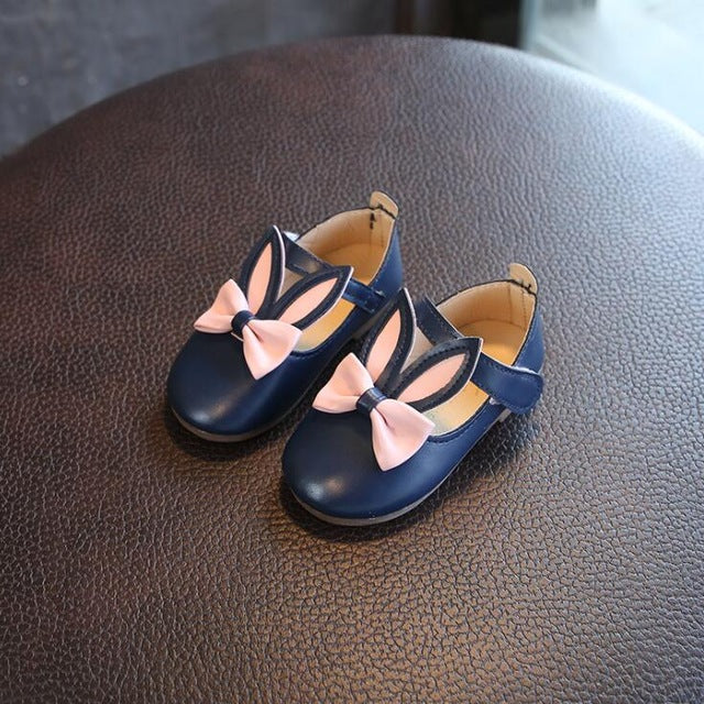 spring and autumn new girl rabbit ears leather shoes cute princess shoes soft bottom non-slip cartoon baby shoes