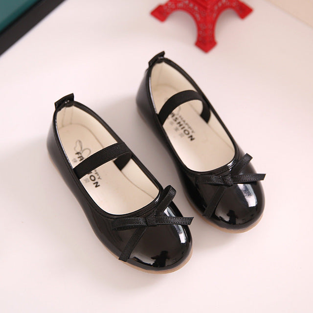 Child moccasins Fall new fashion bow red leather leather soft bottom black school shoes for girls princess shoes kids